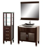 "Daytona 36"" Bathroom Vanity Set - Espresso Finish A-W2109T-36-ESP-WHTCAR-SET"