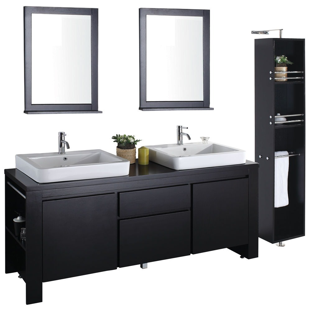 . Allessa 72  Modern Bathroom Double Vanity Set   Espresso