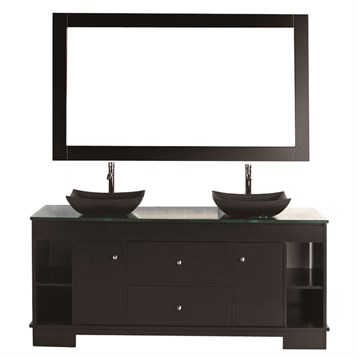 Design element oasis 60 double sink vanity set espresso for Design element marcos solid wood double sink bathroom vanity