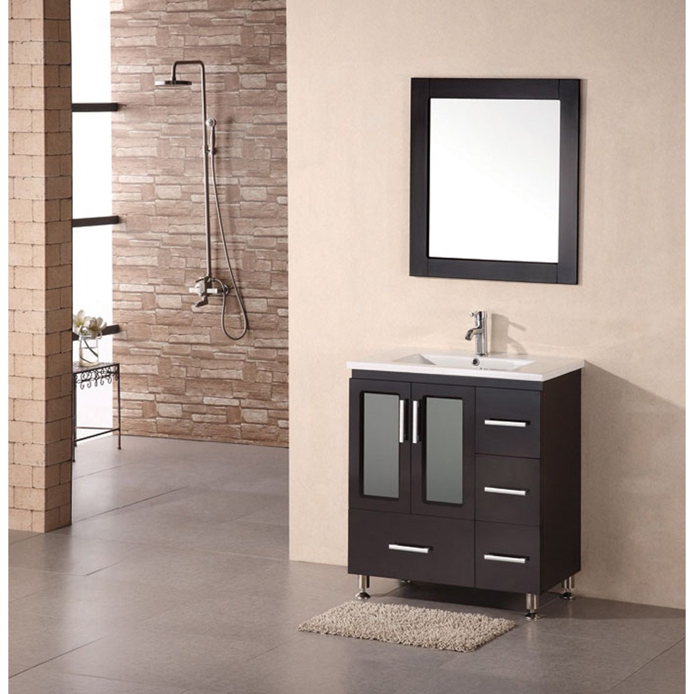 "Design Element Stanton 32"" modern vanity w/ drop in sink - Espressonohtin Sale $929.00 SKU: B30-DS :"