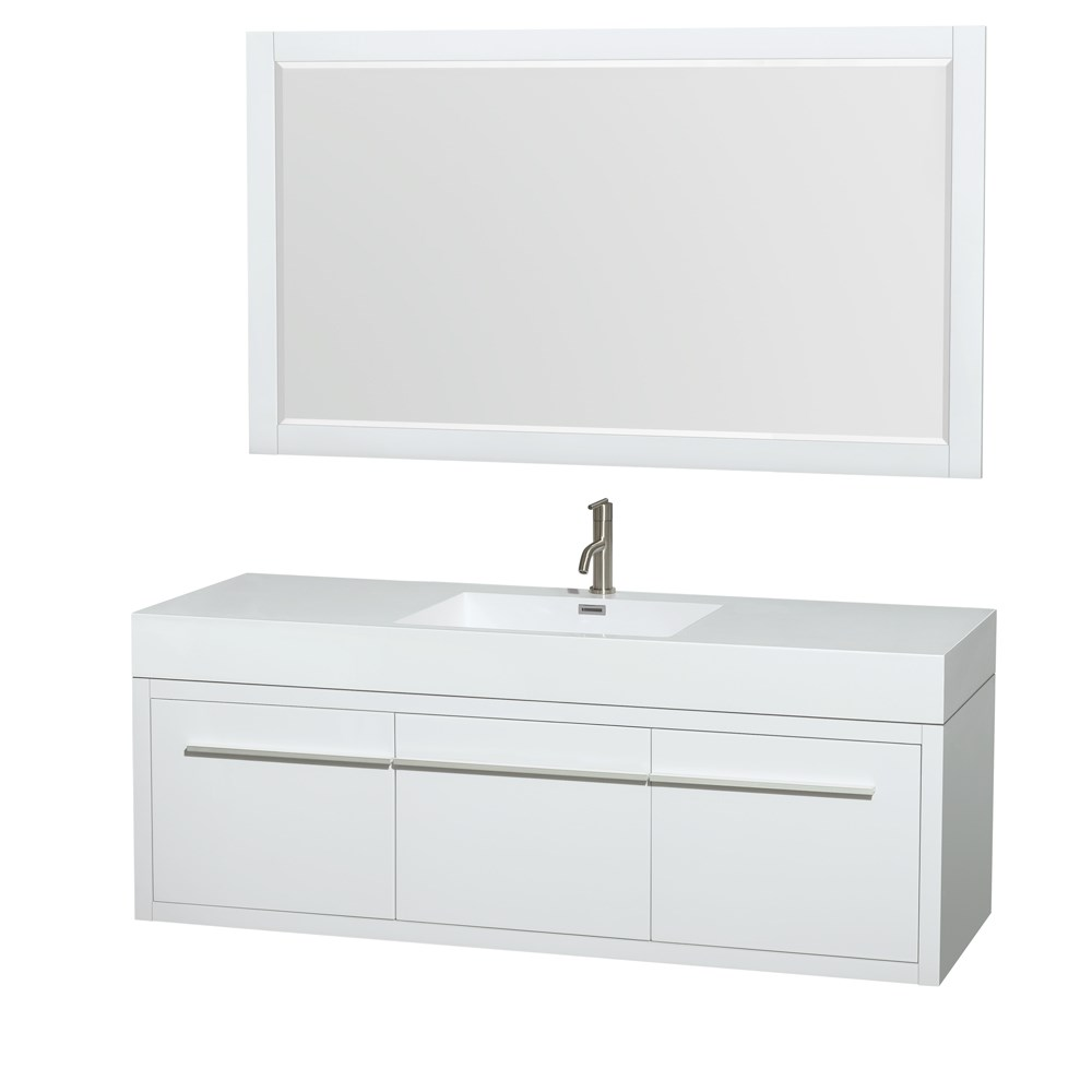 """Axa 60"""" Wall-Mounted Single Bathroom Vanity Set With Integrated Sink by Wyndham Collection - Glossy Whitenohtin Sale $1499.00 SKU: WC-R4300-60-VAN-WHT-SGL :"""