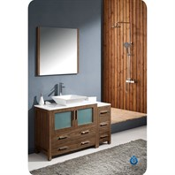"Fresca Torino 48"" Walnut Brown Modern Bathroom Vanity with Side Cabinet & Vessel Sink FVN62-3612WB-VSL"