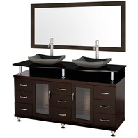 "Accara 60"" Double Bathroom Vanity - Espresso w/ Black Granite Counter and Sink B706D-60-ESP-BLK"
