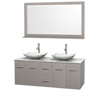 "Centra 60"" Double Bathroom Vanity Set for Vessel Sinks by Wyndham Collection - Gray Oak WC-WHE009-60-DBL-VAN-GRO"