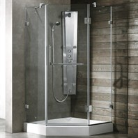"Vigo Industries Frameless Neo-Angle Shower Enclosure - 36"" x 36"", Clear VG6062CL-36-36"