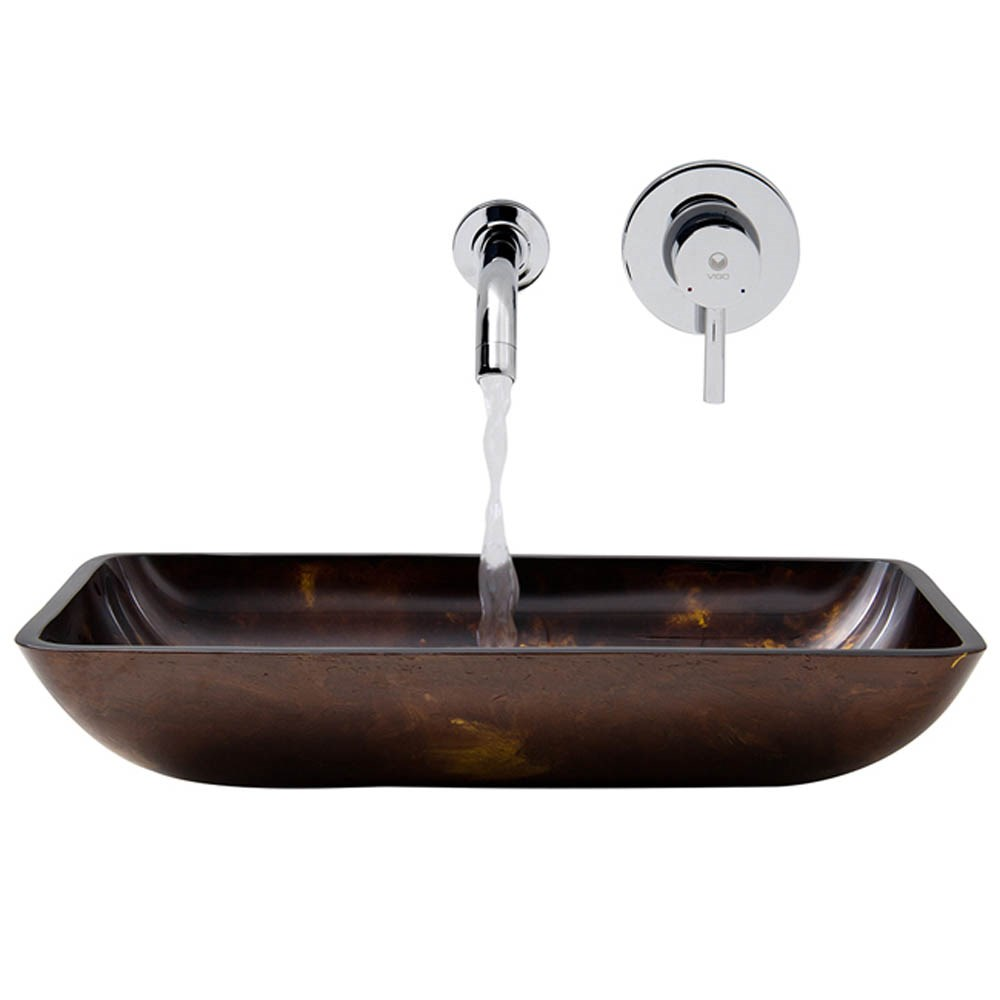 VIGO Rectangular Brown and Gold Fusion Glass Vessel Sink and Wall Mount Faucet Setnohtin Sale $219.90 SKU: VGT278- :