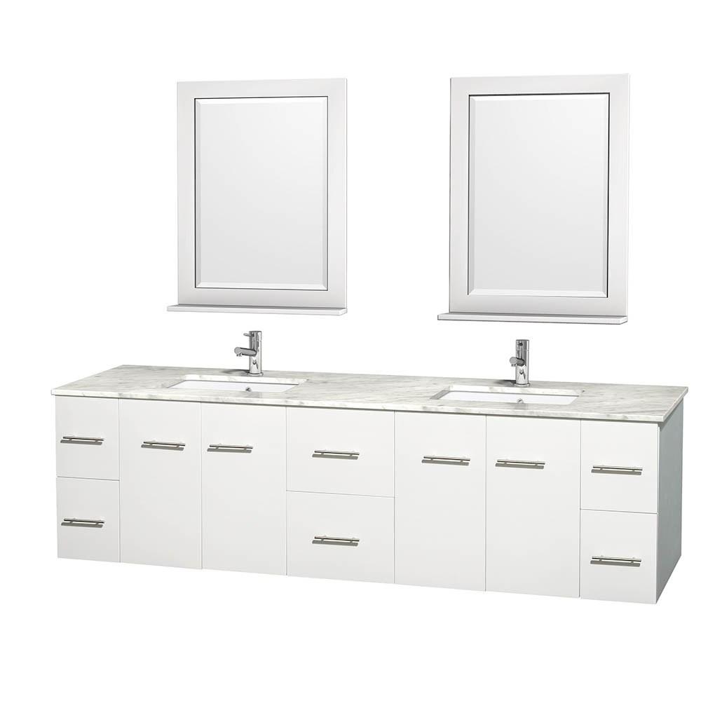 "Centra 80"" Double Bathroom Vanity for Undermount Sinks by Wyndham Collection - Matte Whitenohtin Sale $1499.00 SKU: WC-WHE009-80-DBL-VAN-WHT- :"