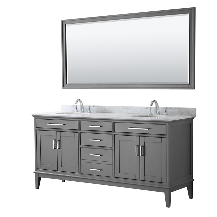 "Margate 72"" Double Bathroom Vanity by Wyndham Collection - Dark Gray WC-3030-72-DBL-VAN-DKG"