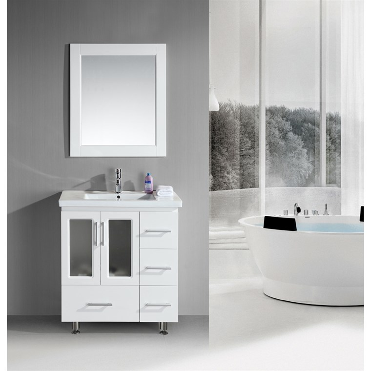 "Design Element Stanton 32"" Single Sink Vanity Set with Drop-in Sink - White B30-DS-W"