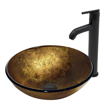 Vigo Liquid Gold Glass Vessel Sink and Seville Faucet Set in Matte Black Finish VGT387 by Vigo Industries