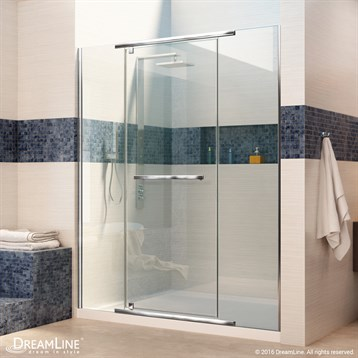"Bath Authority DreamLine Vitreo-X Frameless Pivot Shower Door, 46""- 58-3/4"" SHDR-2146722 by Bath Authority DreamLine"