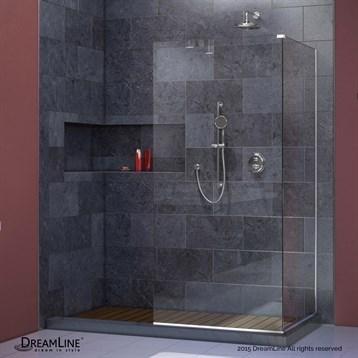 "Bath Authority DreamLine Linea Frameless Shower Door Panels, 30"" and 34"" Corner SHDR-3230343 by Bath Authority DreamLine"