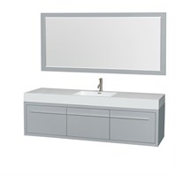 "Axa 72"" Wall-Mounted Single Bathroom Vanity Set With Integrated Sink by Wyndham Collection - Dove Gray WC-R4300-72-VAN-DVG-SGL"