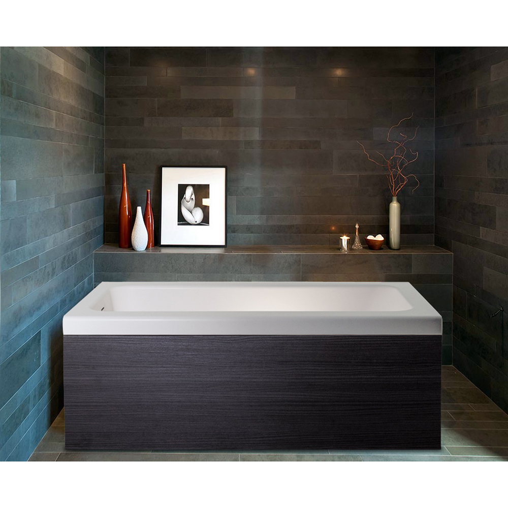 Pure 1d Back To Wall Solid Surface Bathtub With Dark