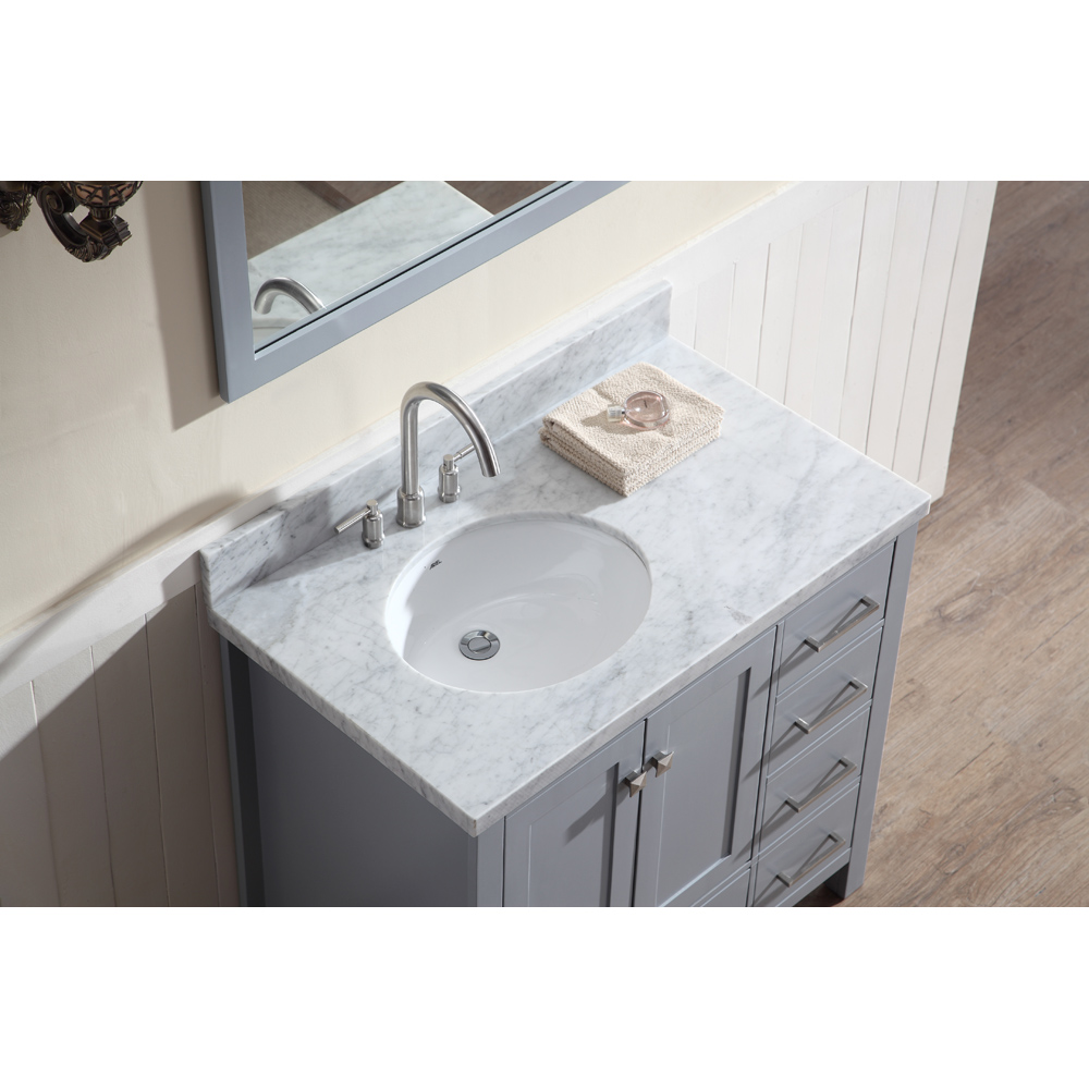 "Marble Bathroom Sink Countertop: Ariel Cambridge 37"" Single Sink Vanity Set With Left"