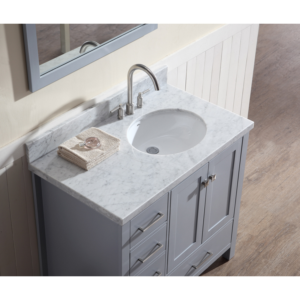 Ariel cambridge 37 single sink vanity set with right - Bathroom vanity with right offset sink ...