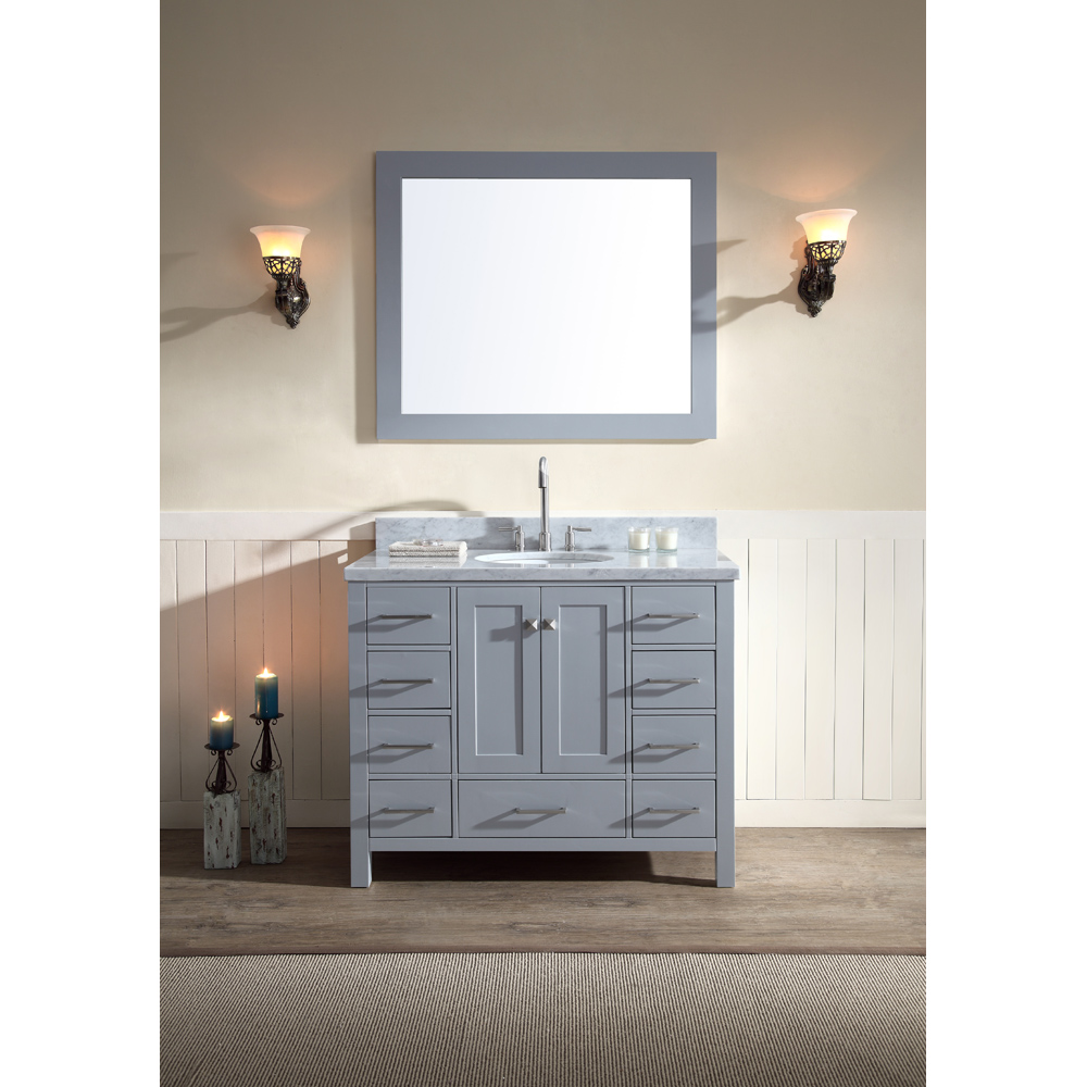 """Ariel Cambridge 43"""" Single Sink Vanity Set with Carrera White Marble Countertop, Grey A043S-GRY by Ariel"""