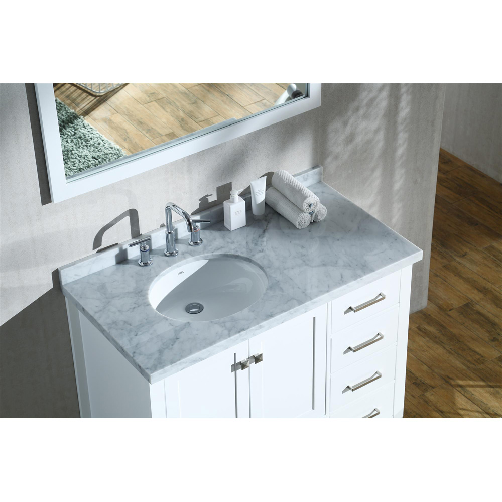 "Marble Bathroom Sink Countertop: Ariel Cambridge 43"" Single Sink Vanity With Left Offset"