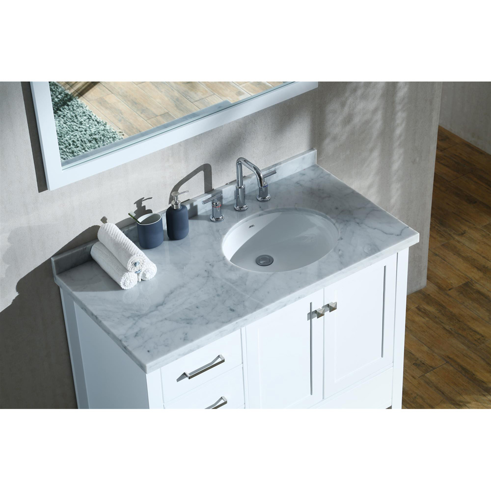 "Marble Bathroom Sink Countertop: Ariel Cambridge 43"" Single Sink Vanity With Right Offset"