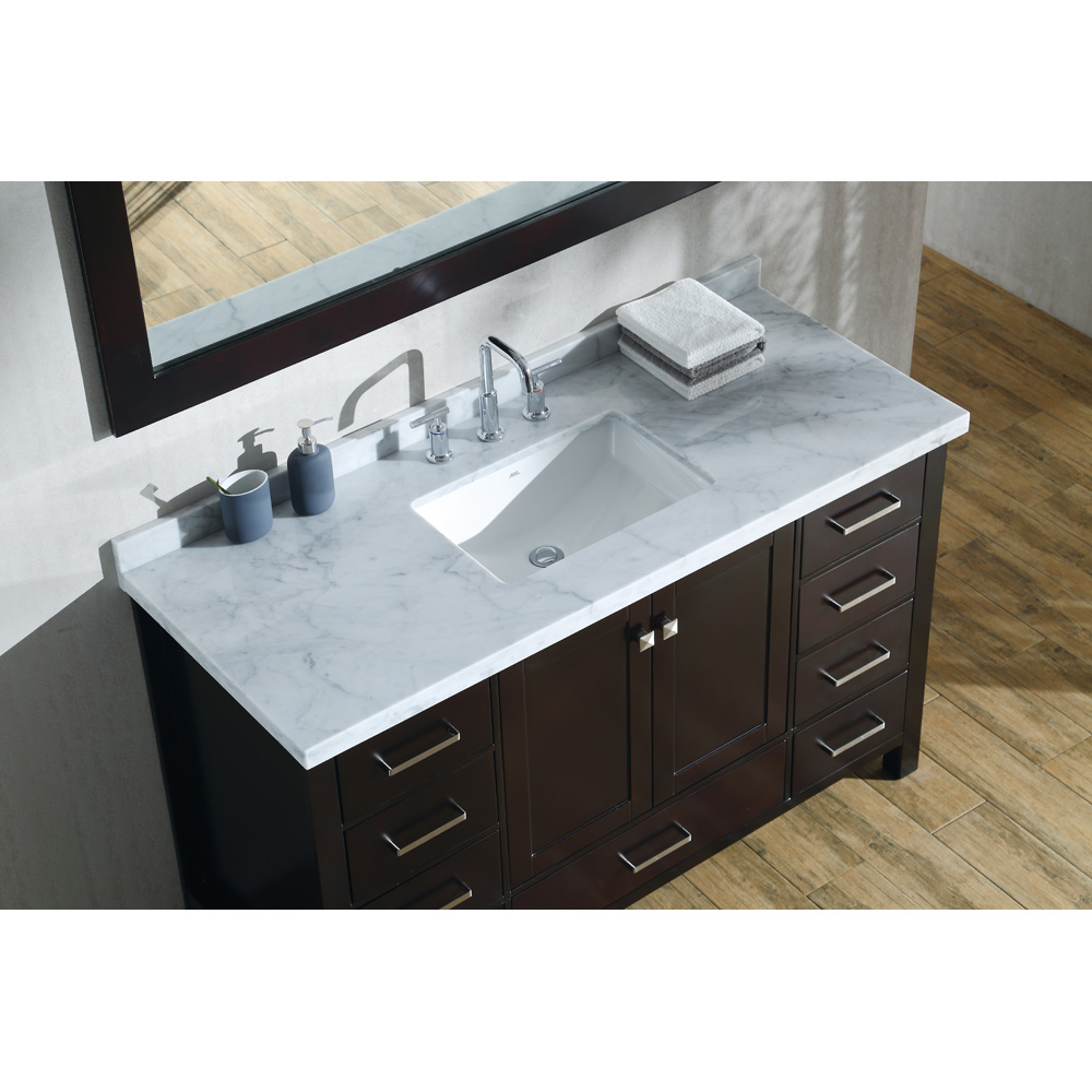 "Marble Bathroom Sink Countertop: Ariel Cambridge 55"" Single Sink Vanity Set With Rectangle"
