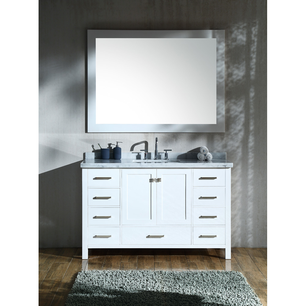 Ariel cambridge 55 single sink vanity set with rectangle sink and carrara white marble for 55 single sink bathroom vanity