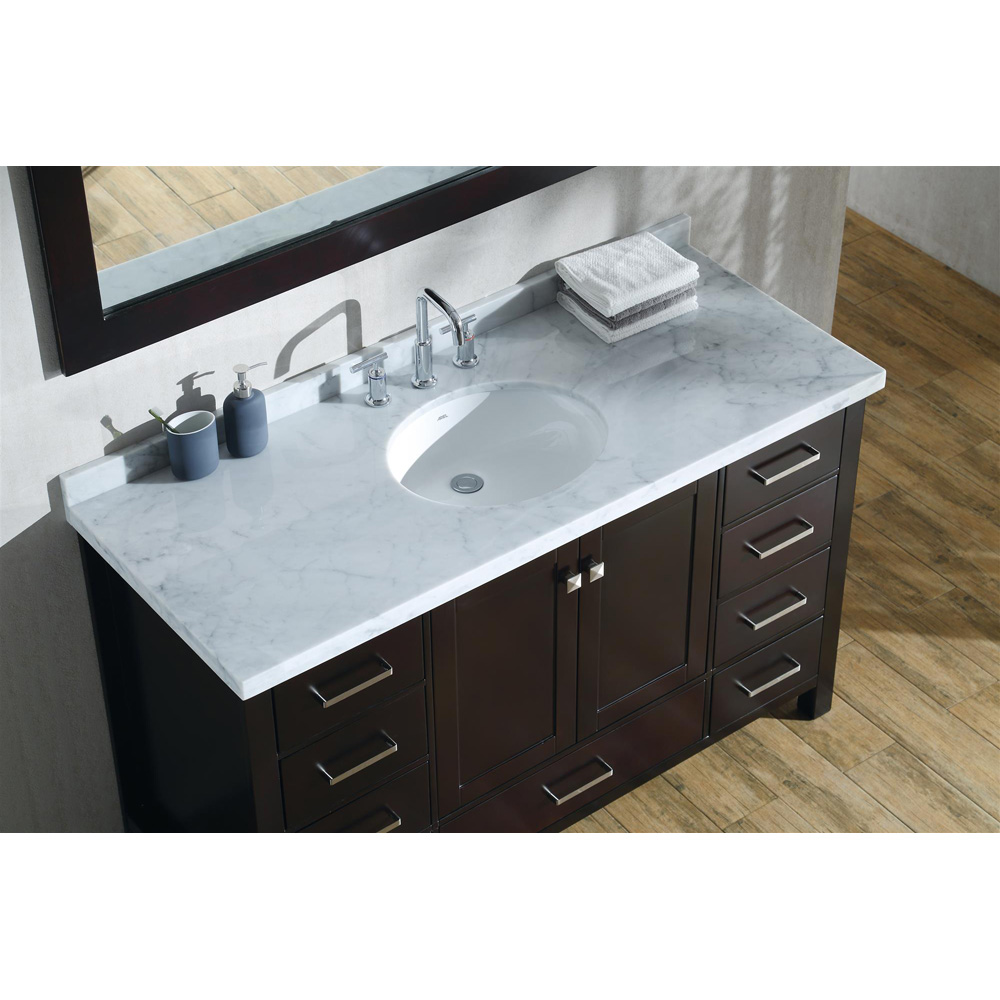 "Marble Bathroom Sink Countertop: Ariel Cambridge 55"" Single Sink Vanity With Carrara White"