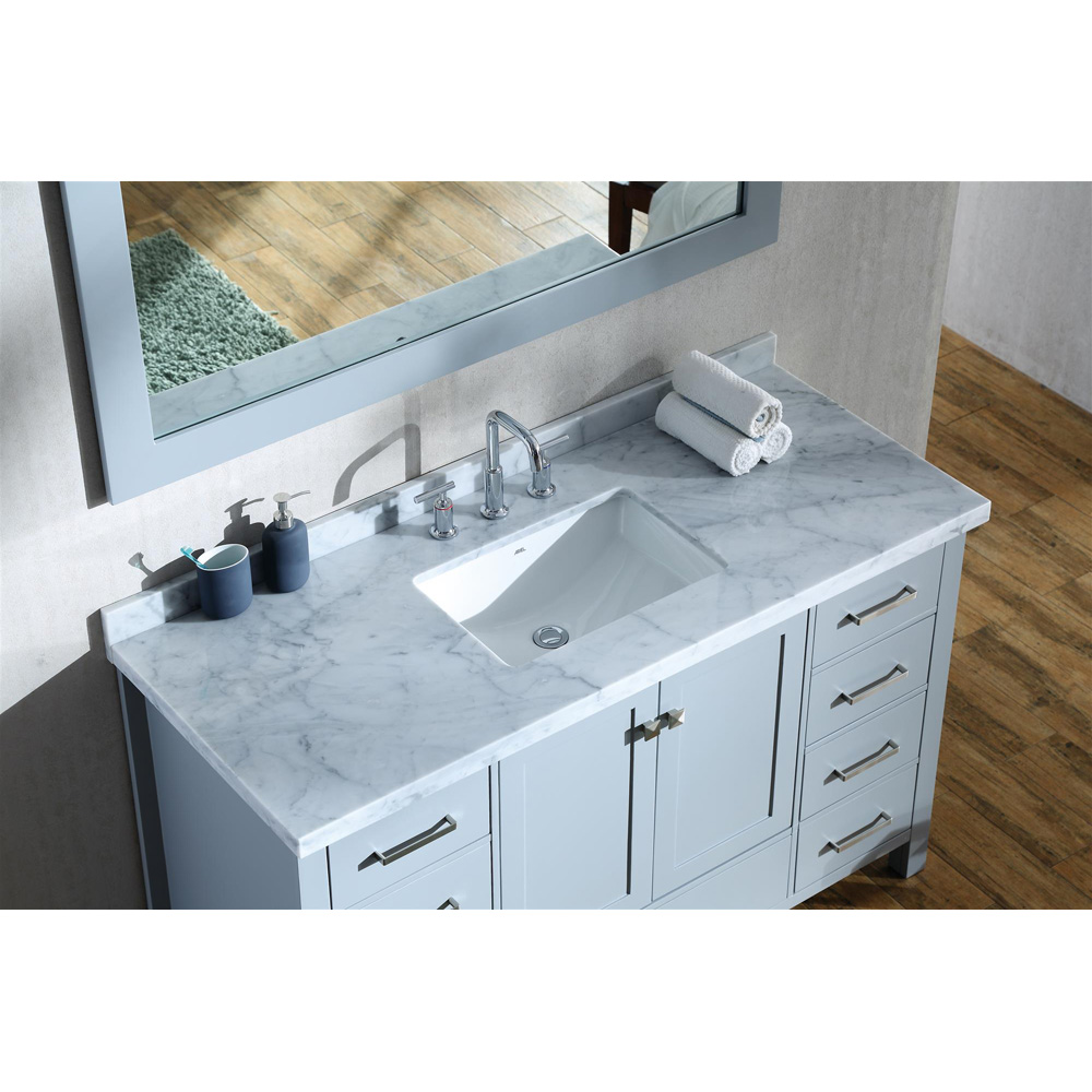 Ariel cambridge 55 single sink vanity with rectangle sink and carrara white marble countertop for 55 single sink bathroom vanity