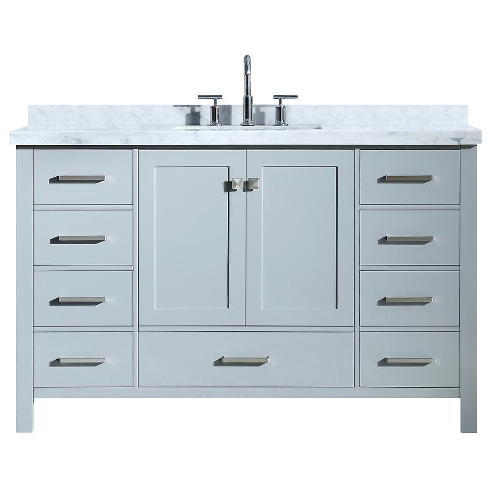 Ariel cambridge 55 single sink vanity with rectangle sink - 55 inch bathroom vanity single sink ...