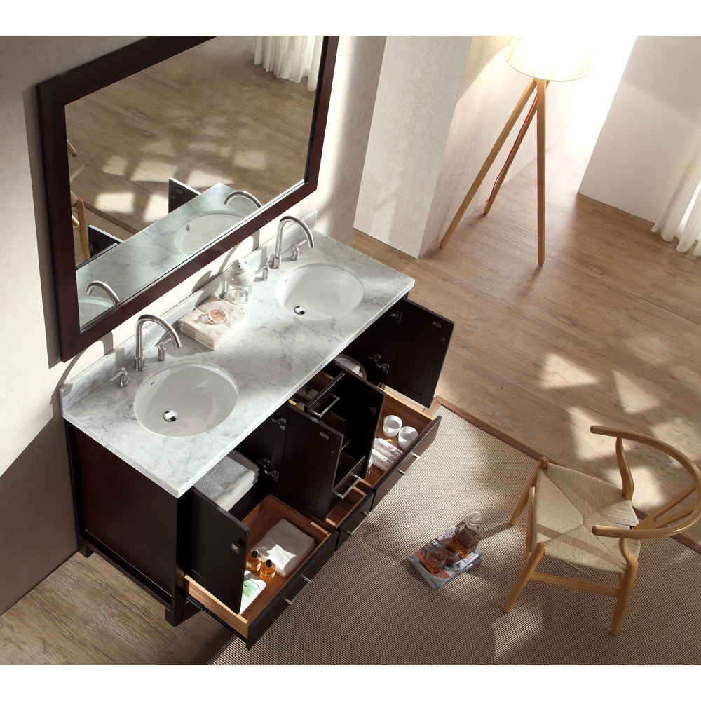 "Marble Bathroom Sink Countertop: Ariel Cambridge 61"" Double Sink Vanity Set With Carrera"