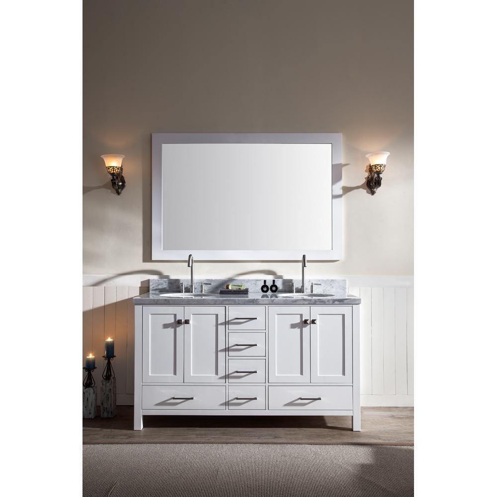 Ariel Cambridge 61 Double Sink Vanity Set With Carrera White Marble Countertop White Free