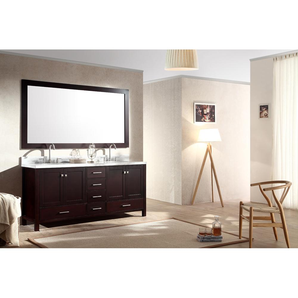 Ariel Cambridge 73 Quot Double Sink Vanity Set With Carrera White Marble Countertop Espresso