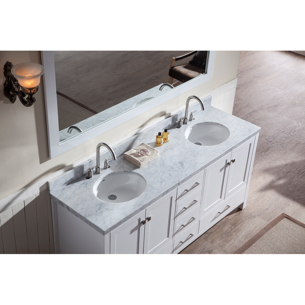"Marble Bathroom Sink Countertop: Ariel Cambridge 73"" Double Sink Vanity Set With Carrera"