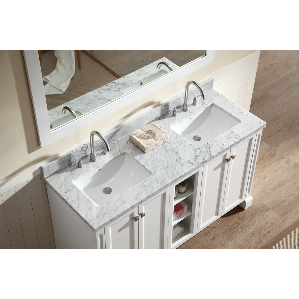 "Marble Bathroom Sink Countertop: Ariel Westwood 61"" Double Sink Vanity Set With Carrera"