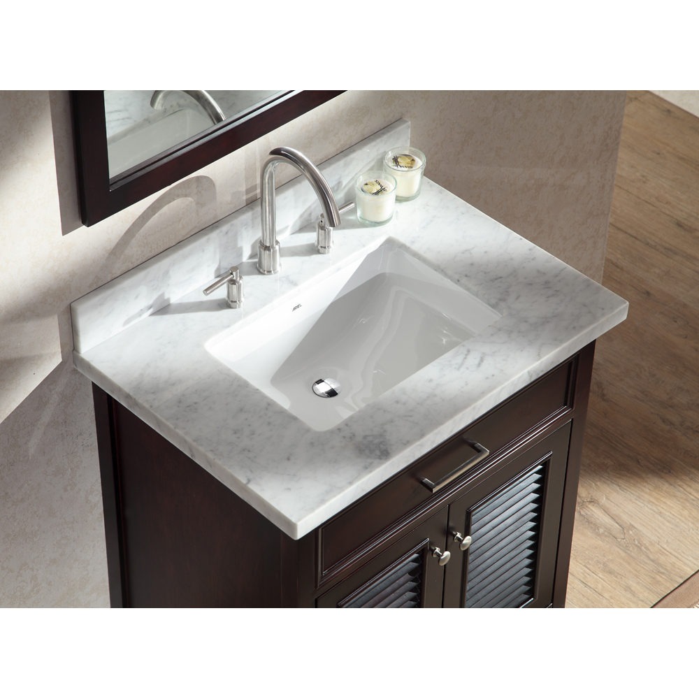 "Marble Bathroom Sink Countertop: Ariel Kensington 31"" Single Sink Vanity Set With Carrera"