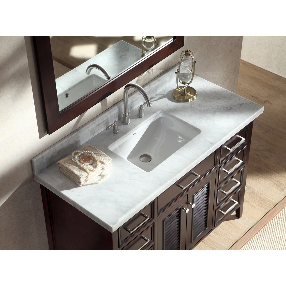 "Marble Bathroom Sink Countertop: Ariel Kensington 49"" Single Sink Vanity Set With Carrera"