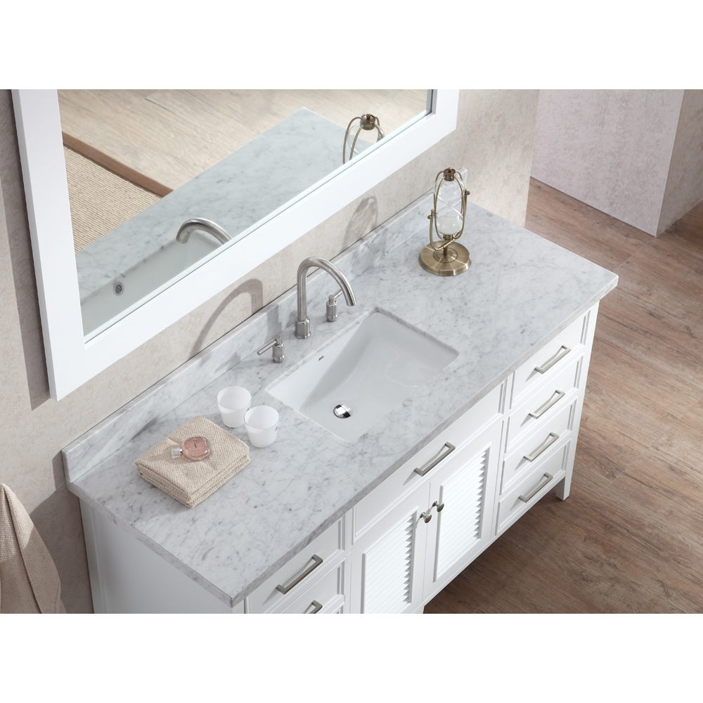 "Marble Bathroom Sink Countertop: Ariel Kensington 61"" Single Sink Vanity Set With Carrera"