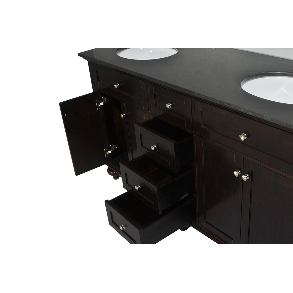 "Black Bathroom Vanity Set: Belmont Decor Colonial 60"" Double Sink Vanity Set With"