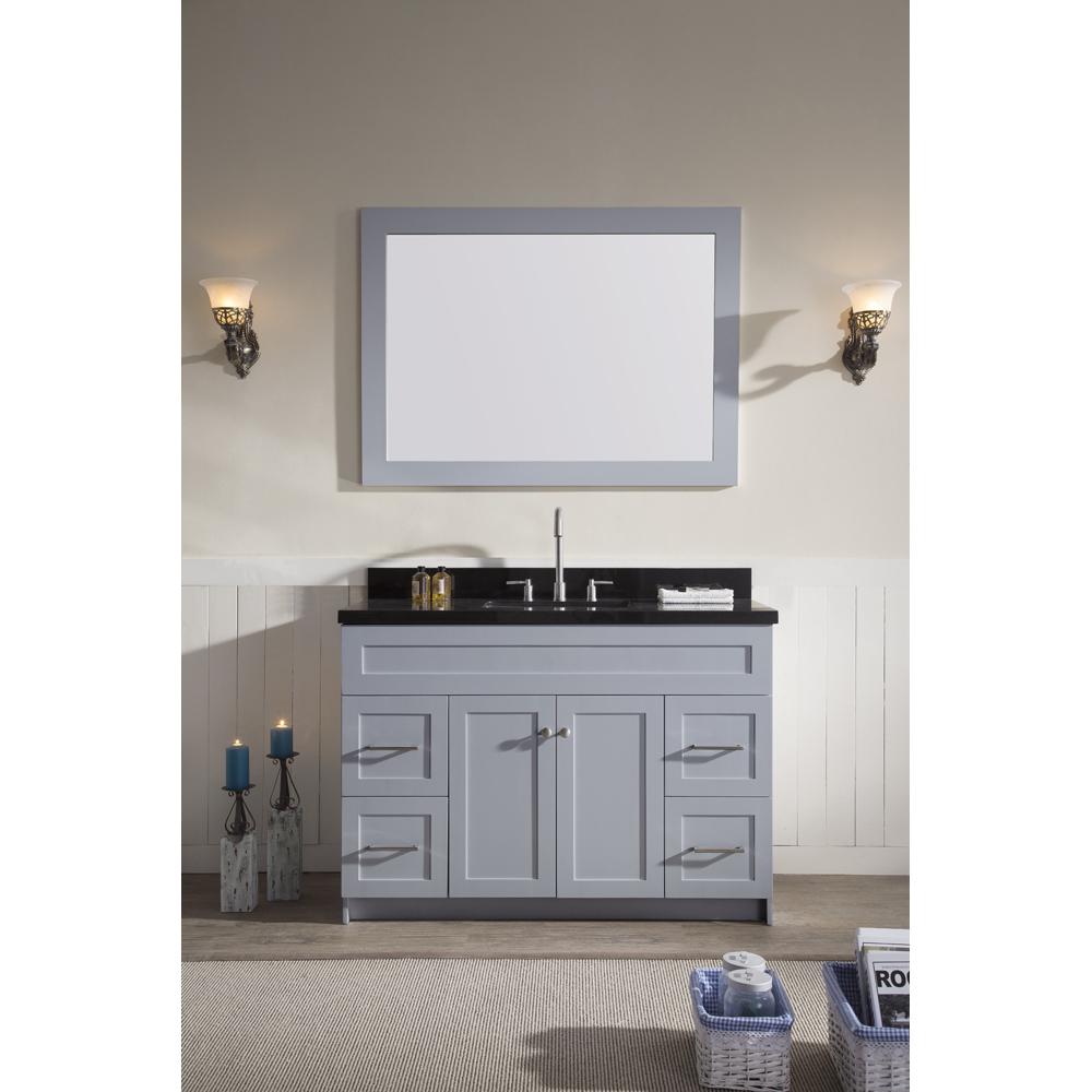"""Ariel Hamlet 49"""" Single Sink Vanity Set With Absolute Black Granite Countertop In Grey"""