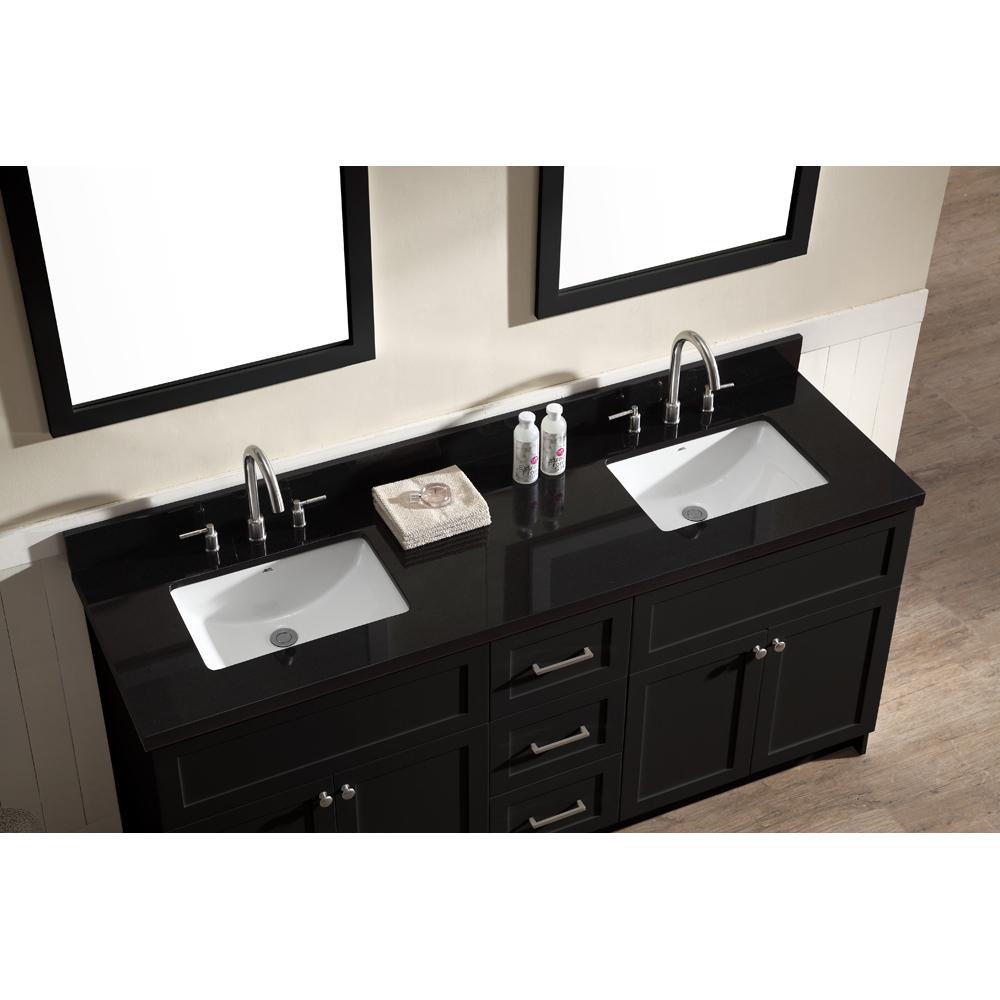 ariel hamlet 73 double sink vanity set with absolute black granite countertop in black free. Black Bedroom Furniture Sets. Home Design Ideas