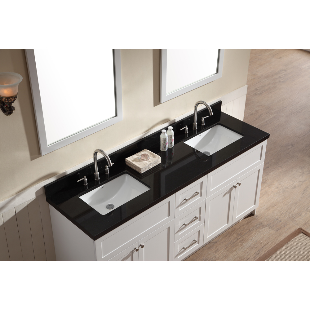 "Marble Bathroom Sink Countertop: Ariel Hamlet 73"" Double Sink Vanity Set With Absolute"