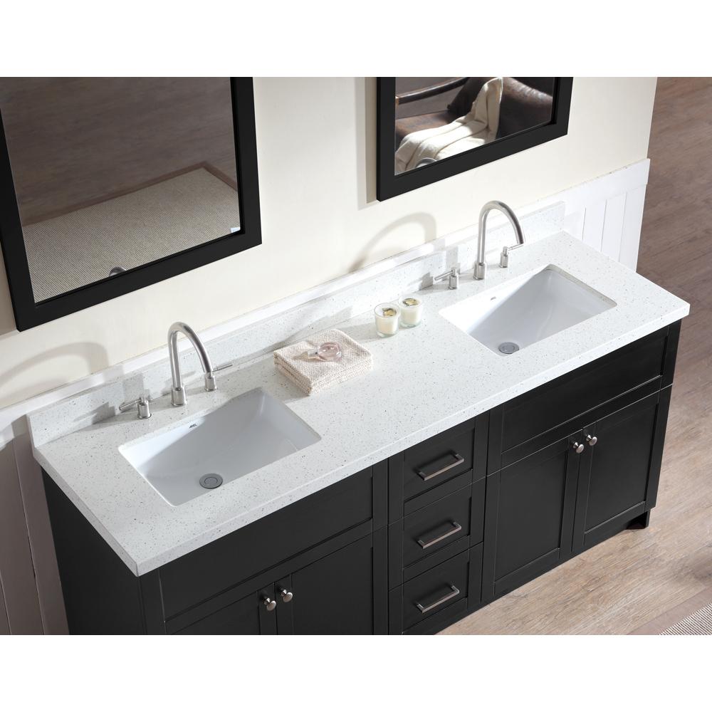 """Black Bathroom Vanity Set: Ariel Hamlet 73"""" Double Sink Vanity Set With White Quartz"""