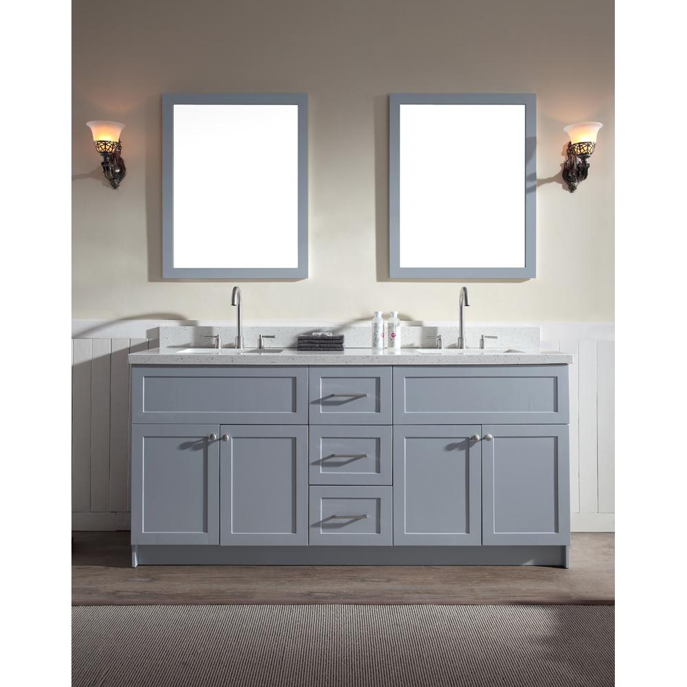 """Ariel Hamlet 73"""" Double Sink Vanity Set With White Quartz Countertop In Grey"""