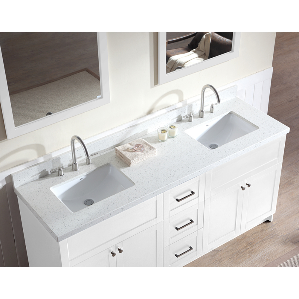 Ariel Hamlet 73 Double Sink Vanity Set With White Quartz Countertop In White Free Shipping