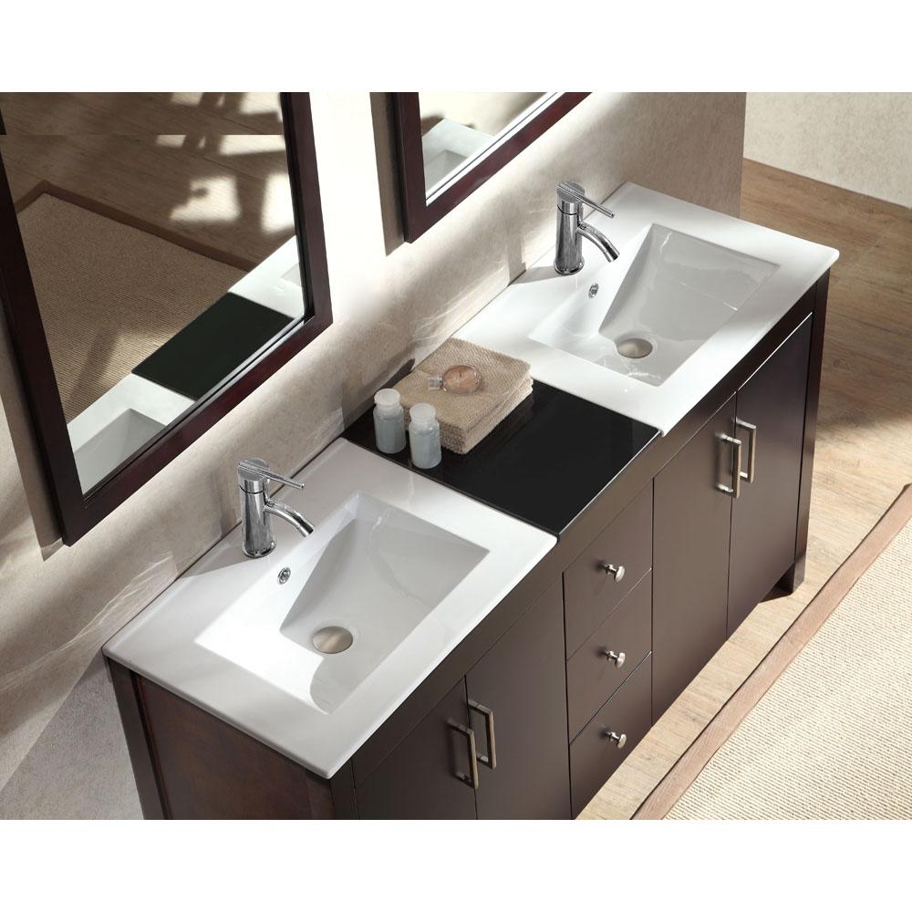 Ariel Hanson 60 Quot Double Sink Vanity Set With Black Granite