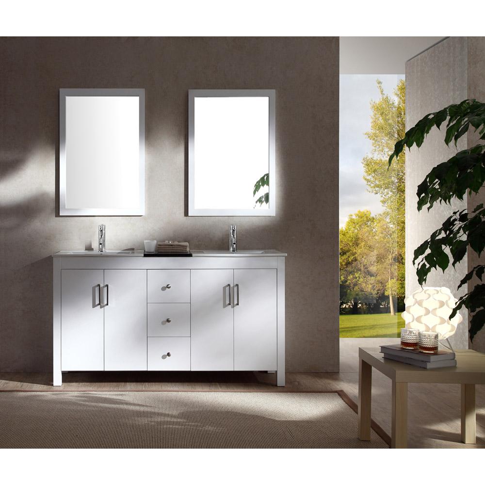 "Ariel Hanson 60"" Double Sink Vanity Set With Black Granite Countertop - White"