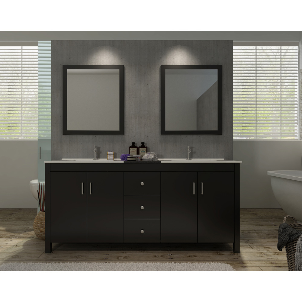 Ariel Hanson 72 Quot Double Sink Vanity Set With Black Granite
