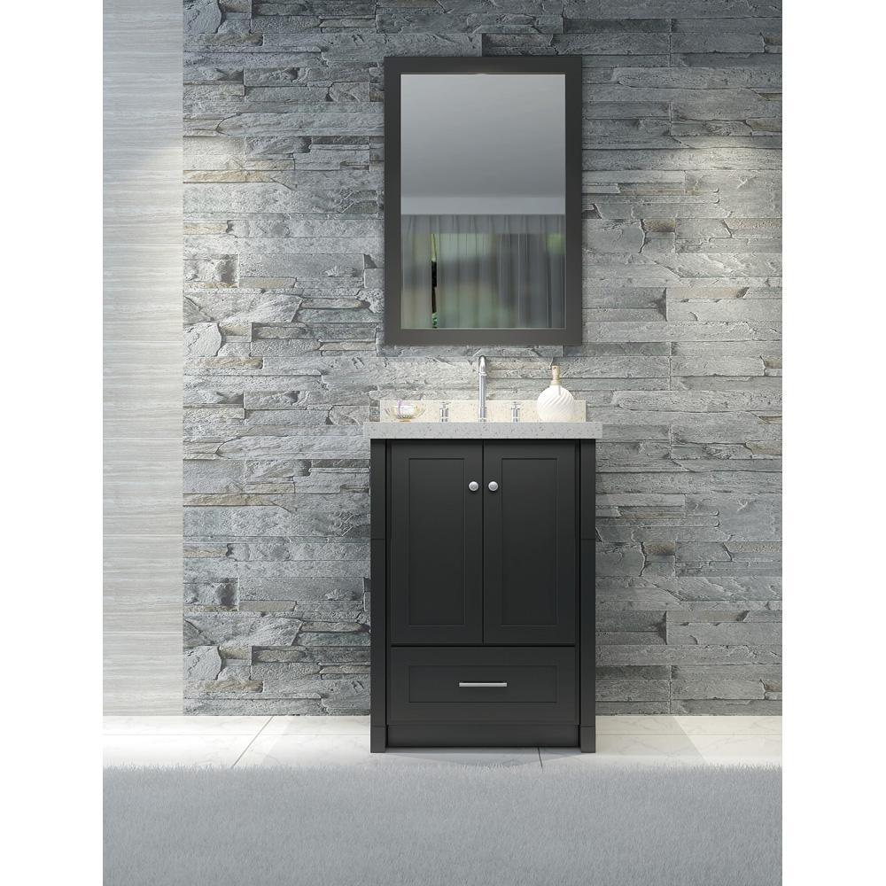 "Ariel Adams 25"" Single Sink Vanity Set With White Quartz Countertop - Black"