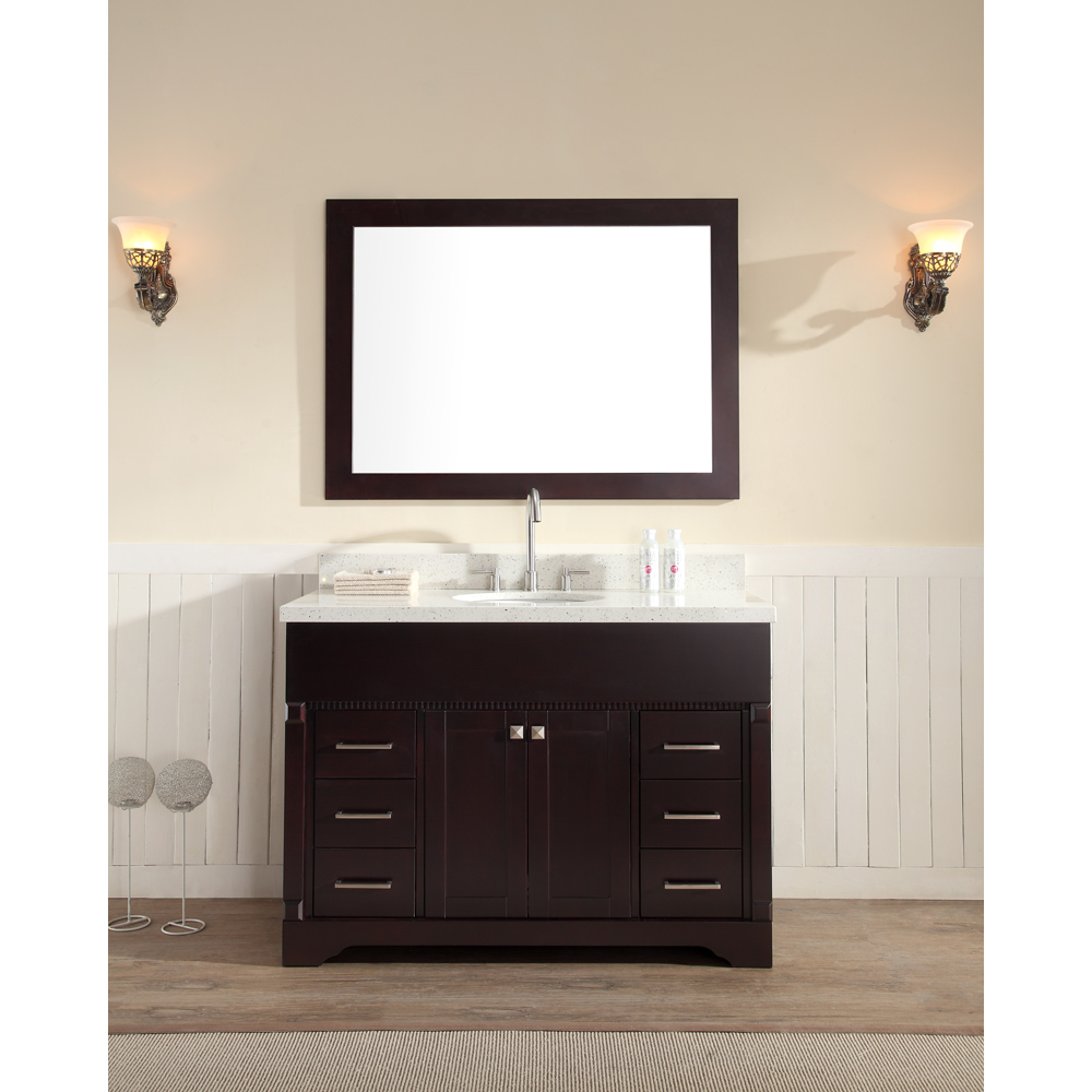 "Ariel Stafford 49"" Single Sink Vanity Set with White Quartz Countertop, Espresso M049S-ESP by Ariel"