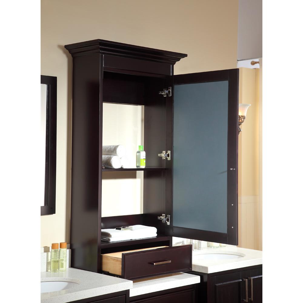 Ariel Stafford 85 Quot Double Sink Vanity Set With White Quartz Countertop Espresso