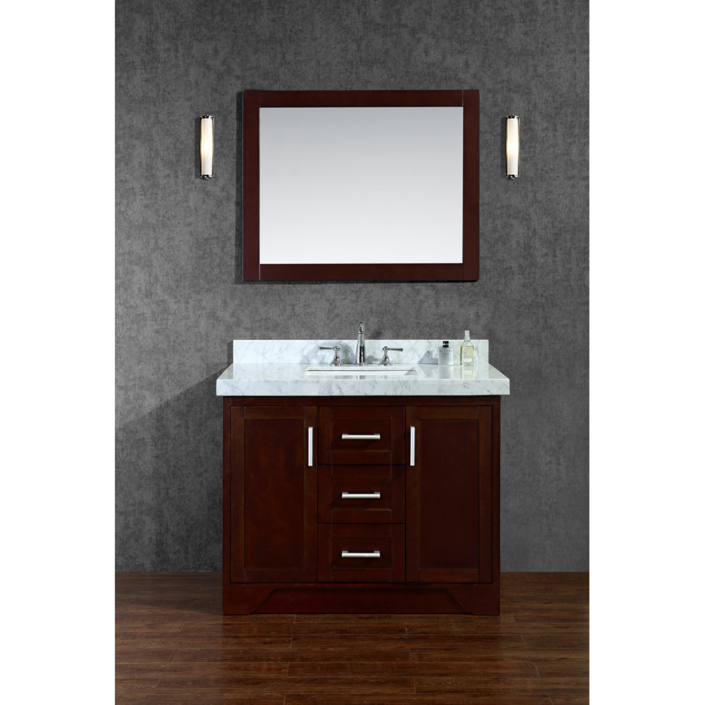 Seacliff By Ariel Ashbury 42 Single Sink Vanity Set With Carrera White Marble Countertop